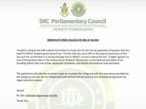 KNUST SRC Judicial Council Unanimously Annuls Interim Committee Act