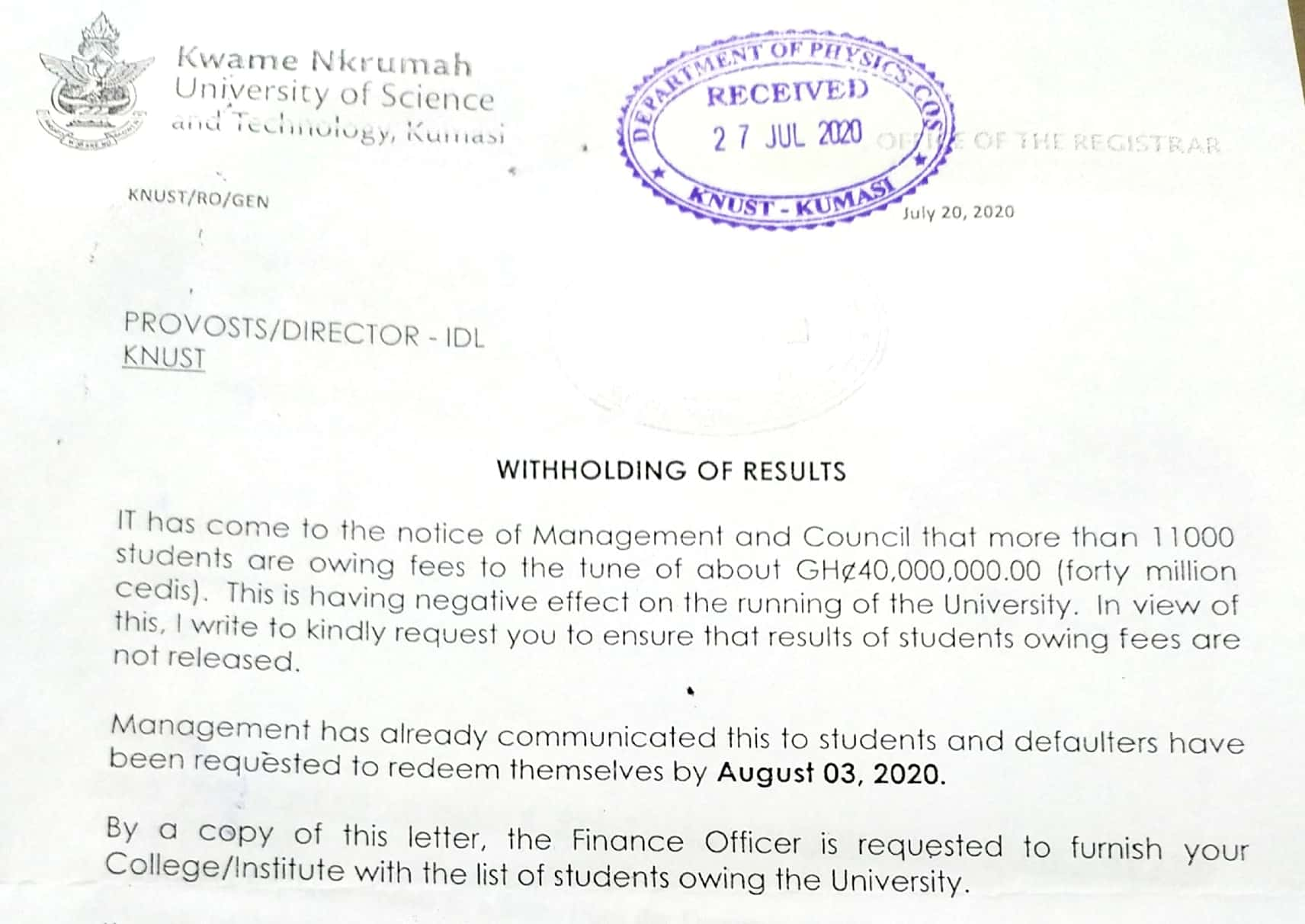 KNUST: Results Of Over 11000 Students To Be Withheld