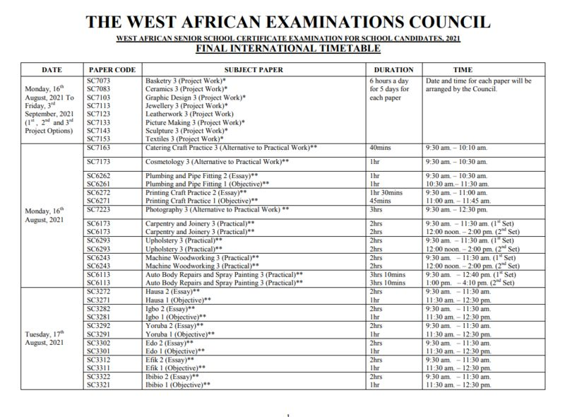 wassce-2021-timetable-all-you-need-to-know-here